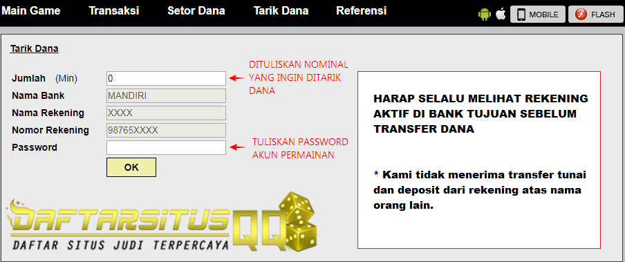 Form Tarik Dana atau Withdraw